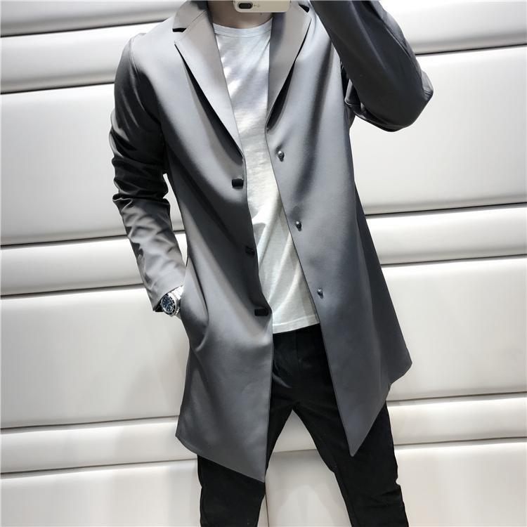 淘宝网男装风衣 [JSSD] 它是型男の标配 明艳视觉 中长款修身风衣外套男 C1200_推荐淘宝好看的男风衣