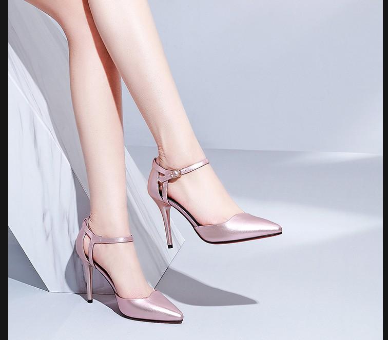 女士高跟凉鞋 MZ CENTURY2019新款细高跟尖头女凉鞋大码42小码33.32女扣带女鞋_推荐淘宝好看的女高跟凉鞋