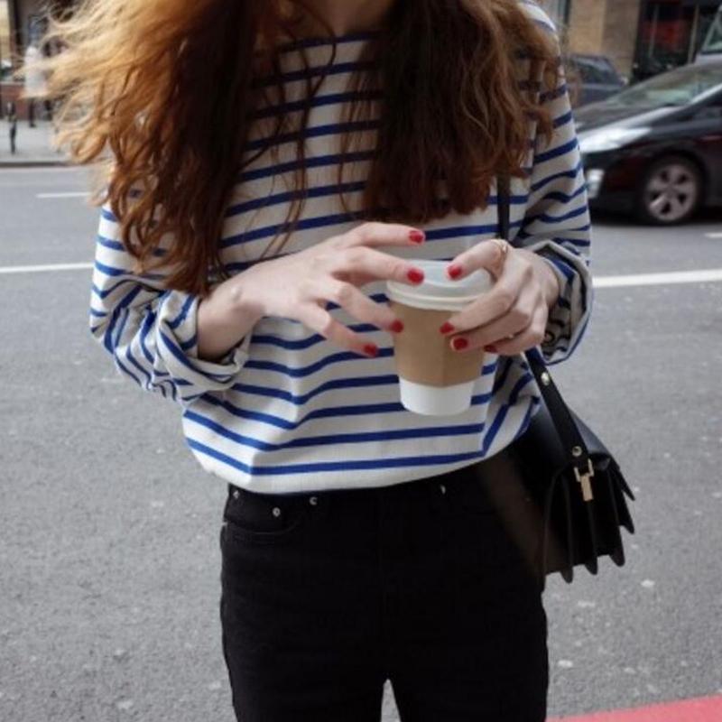 蓝白条纹t恤 韩国chic风 复古经典海军蓝白横条纹宽松百搭圆领长袖T恤打底衫女_推荐淘宝好看的女蓝白条纹t恤