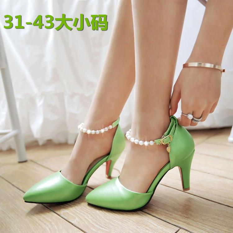 绿色凉鞋 尖头珍珠脚环绑带绿色婚鞋细高跟粉红色伴娘凉鞋白色婚纱女金色潮_推荐淘宝好看的绿色凉鞋