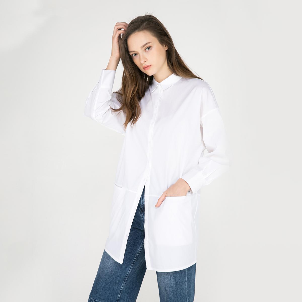白色衬衫 ONLY早春新品含棉面料拼接宽松长款衬衫女-116305512_推荐淘宝好看的白色衬衫