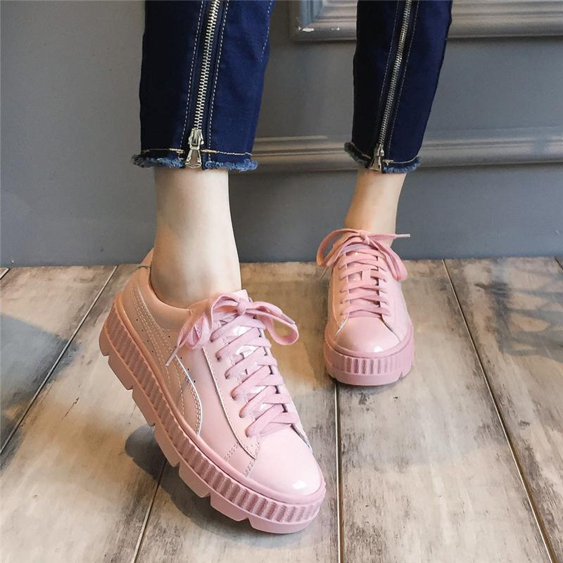 粉红色松糕鞋 欧洲站2018新款女鞋春款粉红色松糕鞋女厚底社会春季韩版百搭鞋子_推荐淘宝好看的粉红色松糕鞋