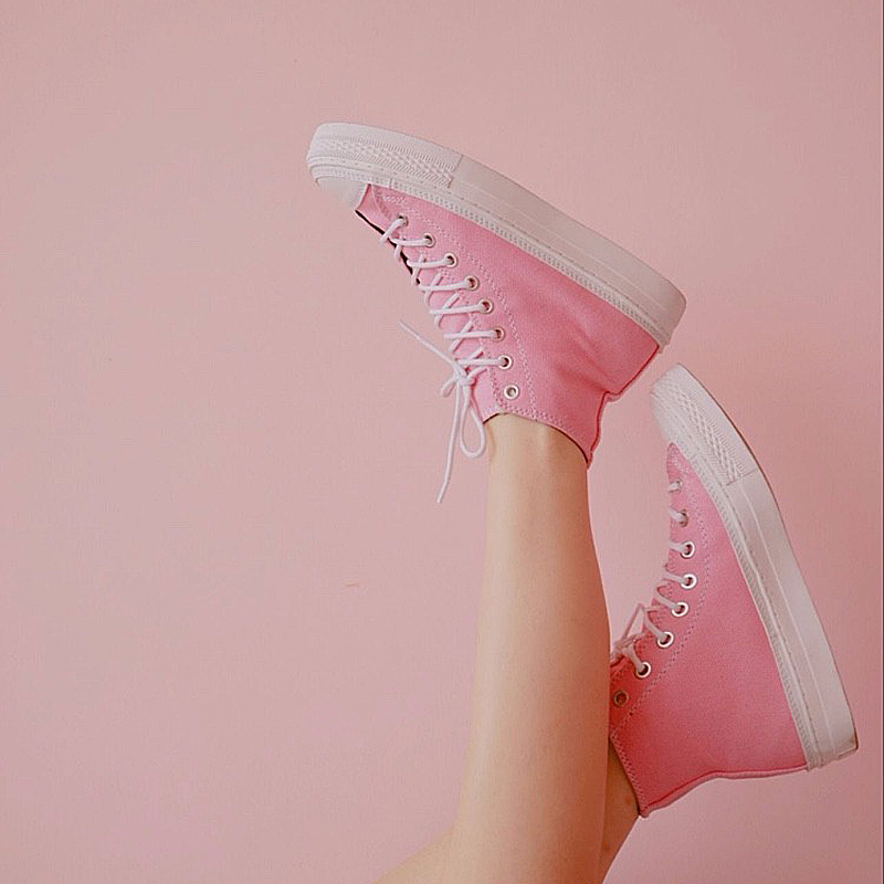 粉红色帆布鞋 BLESS SHOE classic hi 夏季粉红色女装高帮帆布鞋手工鞋_推荐淘宝好看的粉红色帆布鞋