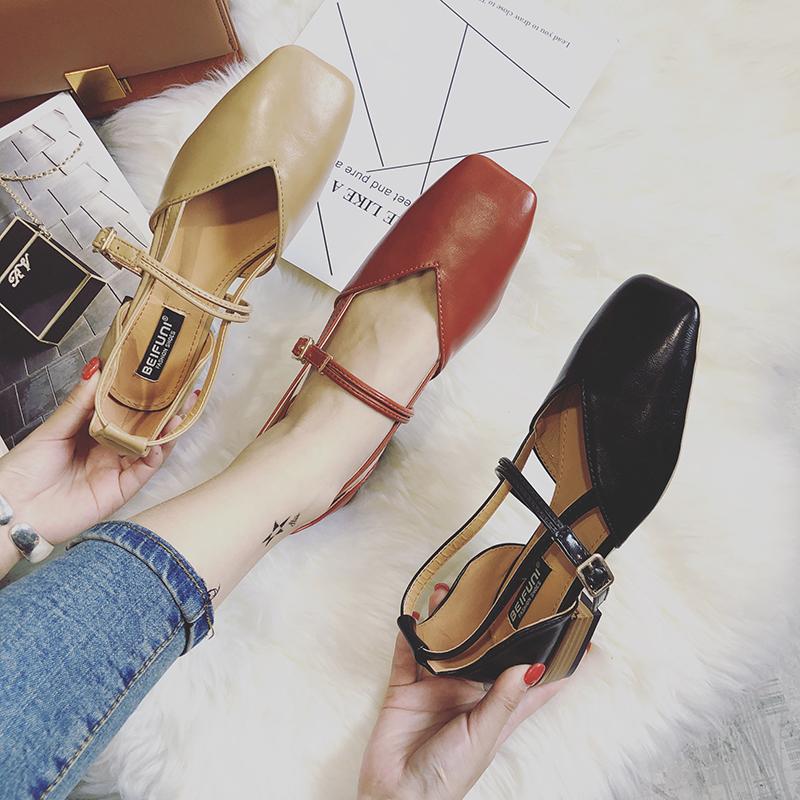 女鞋单鞋 18春季女鞋新款复古方头一字扣粗跟低跟鞋舒适软皮奶奶鞋原宿单鞋_推荐淘宝好看的女鞋单鞋