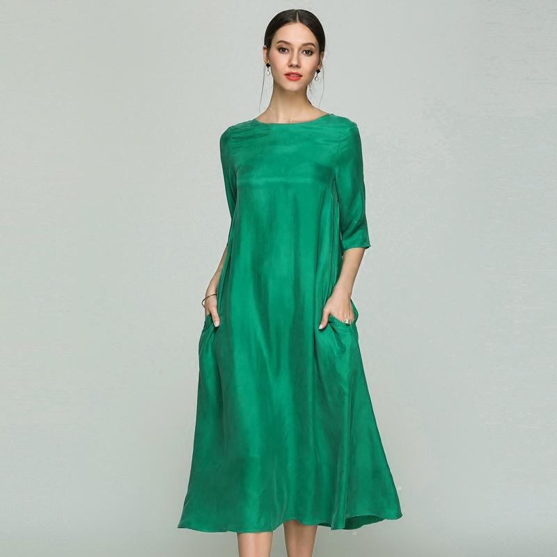 绿色连衣裙 本本原创浪漫休闲宽松大摆飘逸重磅真铜氨丝A型中袖圆领长连衣裙_推荐淘宝好看的绿色连衣裙
