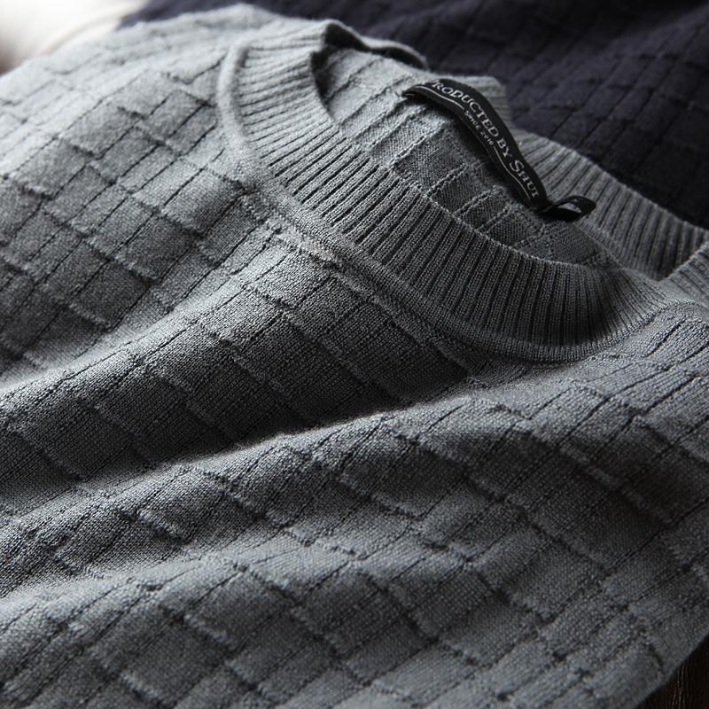 男士圆领针织衫 【反季款】 精纺羊毛商务休闲款 套头圆领打底针织毛衣羊毛衫男18_推荐淘宝好看的男圆领针织衫