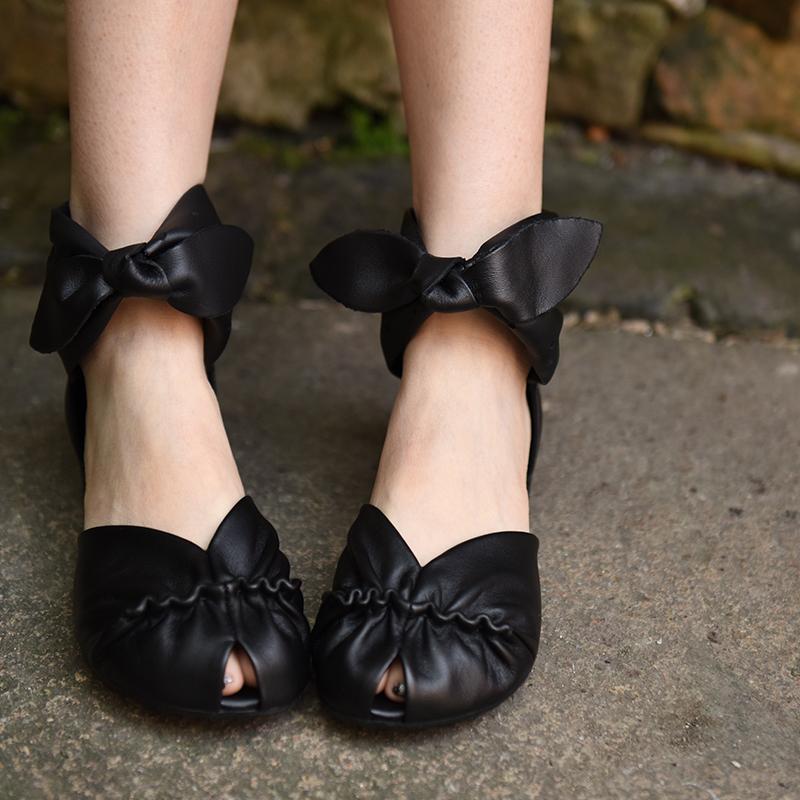 镂空鱼嘴鞋 阿木16新款森女蝴蝶结鱼嘴真皮凉鞋舒适低跟镂空包头凉鞋女_推荐淘宝好看的女镂空鱼嘴鞋