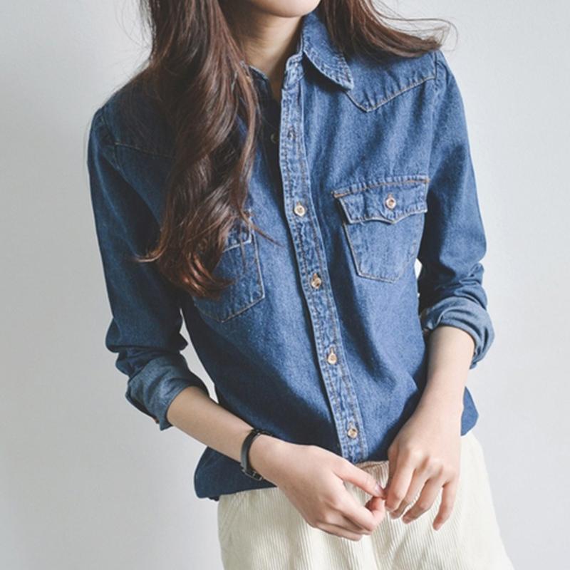 长袖牛仔衬衫 秋装新款韩版修身长袖牛仔衬衫女纯棉学生显瘦衬衣休闲牛仔衬衣_推荐淘宝好看的女长袖牛仔衬衫
