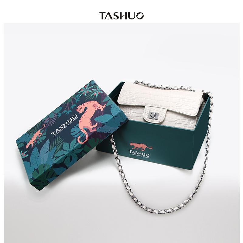 菱格纹单肩斜挎包 TASHUO包包女2018新款欧美时尚鳄鱼纹链条小香风菱格包斜挎单肩包_推荐淘宝好看的女菱格纹单肩斜挎包