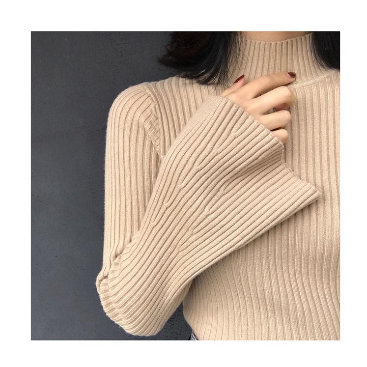 白色针织衫 秋冬新款韩版套头针织衫半高领喇叭袖毛衣女修身显瘦加厚打底上衣_推荐淘宝好看的白色针织衫