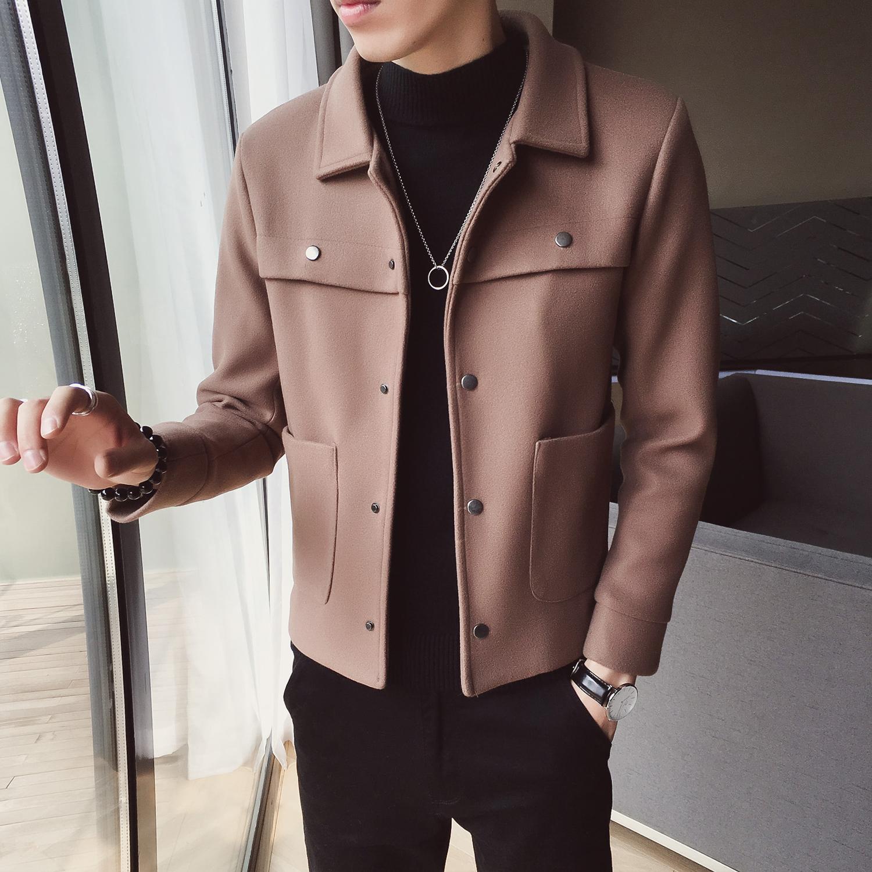 毛呢夹克 18秋冬季男装短款毛呢大衣潮款韩版修身外衣流行气质男生夹克外套_推荐淘宝好看的男毛呢夹克