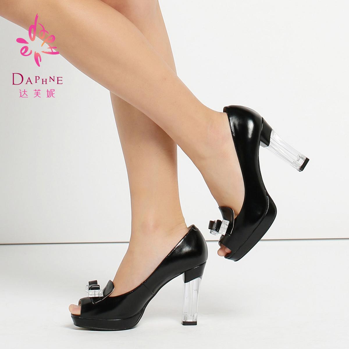 达芙妮单鞋 Daphne达芙妮春新款女鞋蝴蝶结拼接透明鱼嘴单鞋_推荐淘宝好看的女达芙妮单鞋