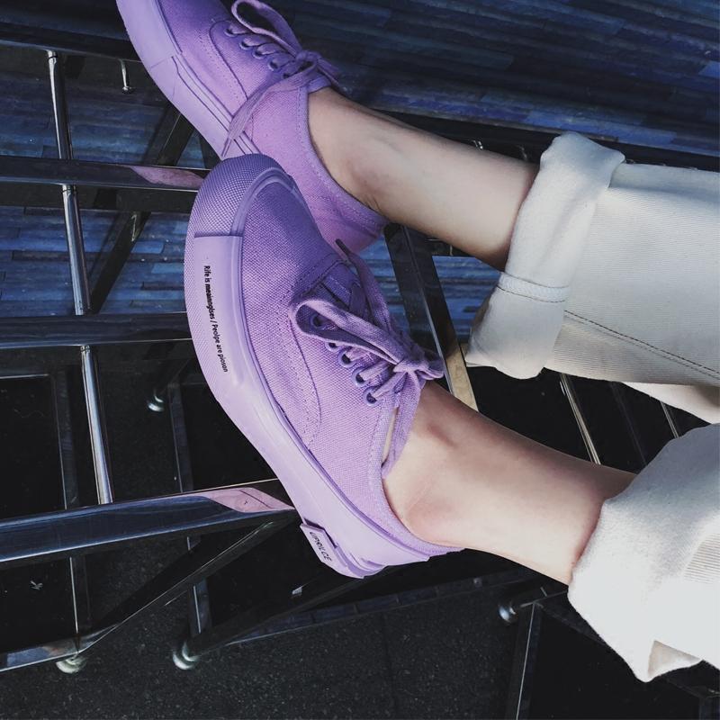 紫色平底鞋 帆布鞋女春秋2019新款韩版百搭平底休闲鞋学生港风板鞋紫色鞋潮_推荐淘宝好看的紫色平底鞋