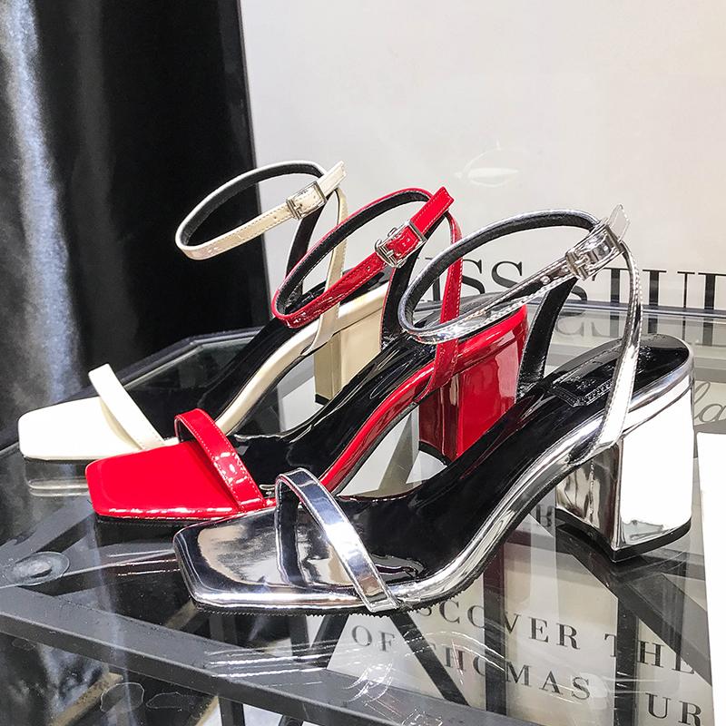 罗马鞋 方头凉鞋女夏小清新高跟鞋少女小码32 33一带凉鞋字粗跟一字罗马_推荐淘宝好看的女罗马鞋