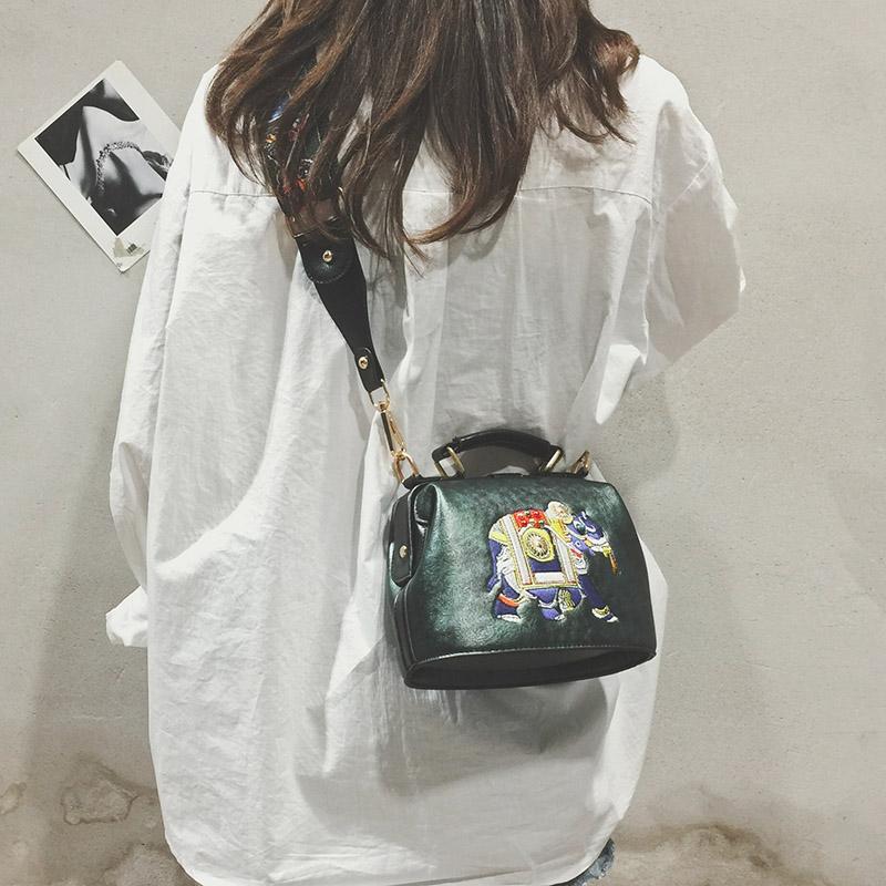 绿色手提包 ins超火仙女包包2018夏新款时尚宽带医生包百搭复古斜跨手提小包_推荐淘宝好看的绿色手提包