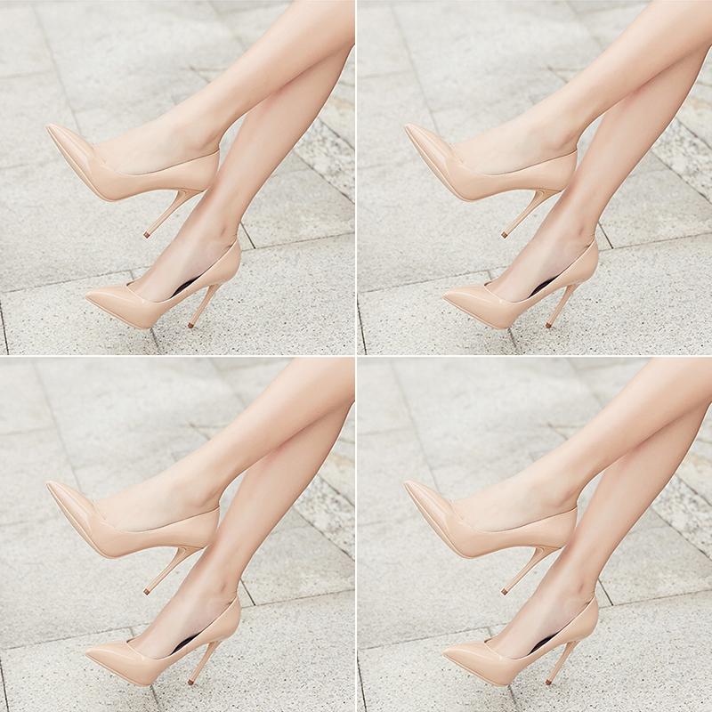 欧美款尖头鞋 2018欧美夏季新款通勤漆皮裸色酒红色高跟鞋尖头细跟浅口OL女单鞋_推荐淘宝好看的欧美尖头鞋