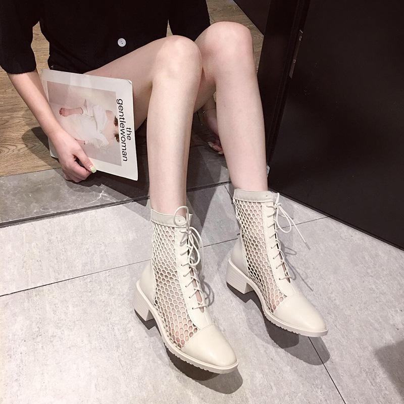 英伦短靴 靴子女夏网红英伦风短靴百搭薄透气百搭高跟中跟粗跟马丁靴女夏季_推荐淘宝好看的女英伦短靴