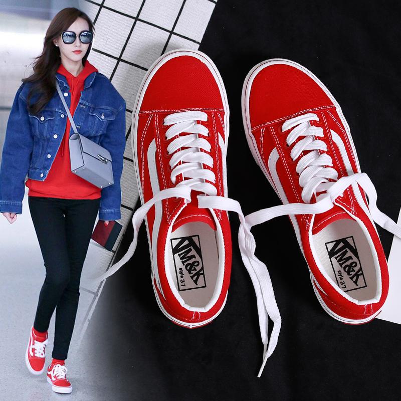 红色帆布鞋 ins女鞋港风超火韩版学生原宿ulzzang2018新款百搭街拍红色帆布鞋_推荐淘宝好看的红色帆布鞋