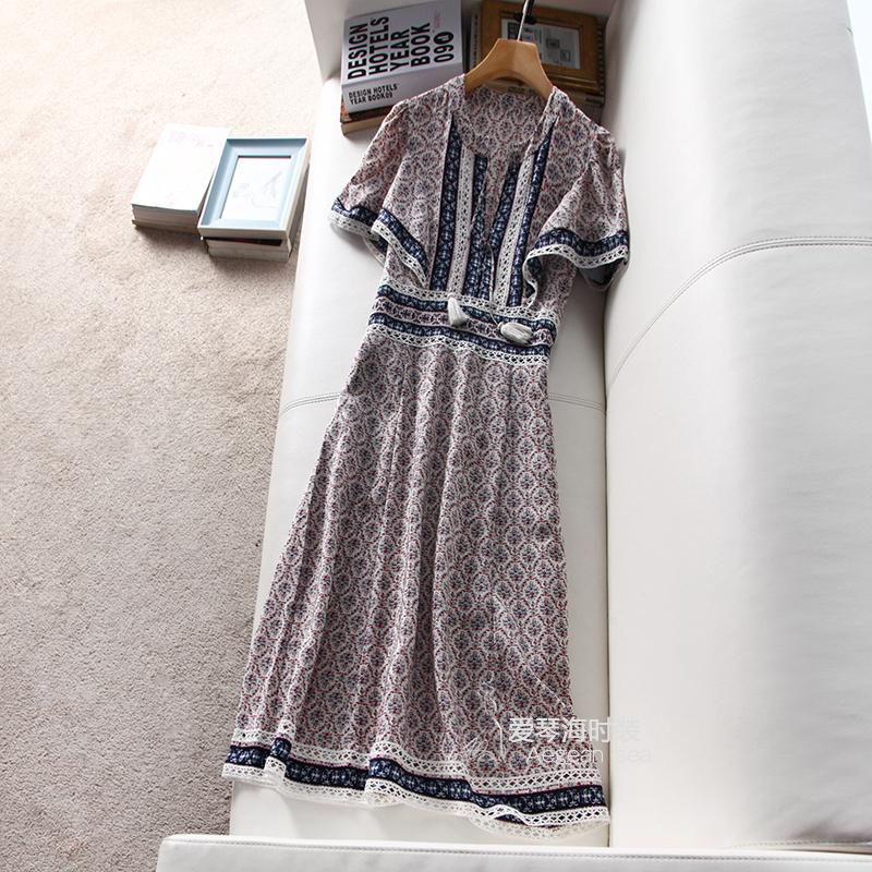 重磅真丝连衣裙 量少尖货 重磅真丝 镂空印花很美 流苏女短袖中长款连衣裙61674_推荐淘宝好看的重磅真丝连衣裙