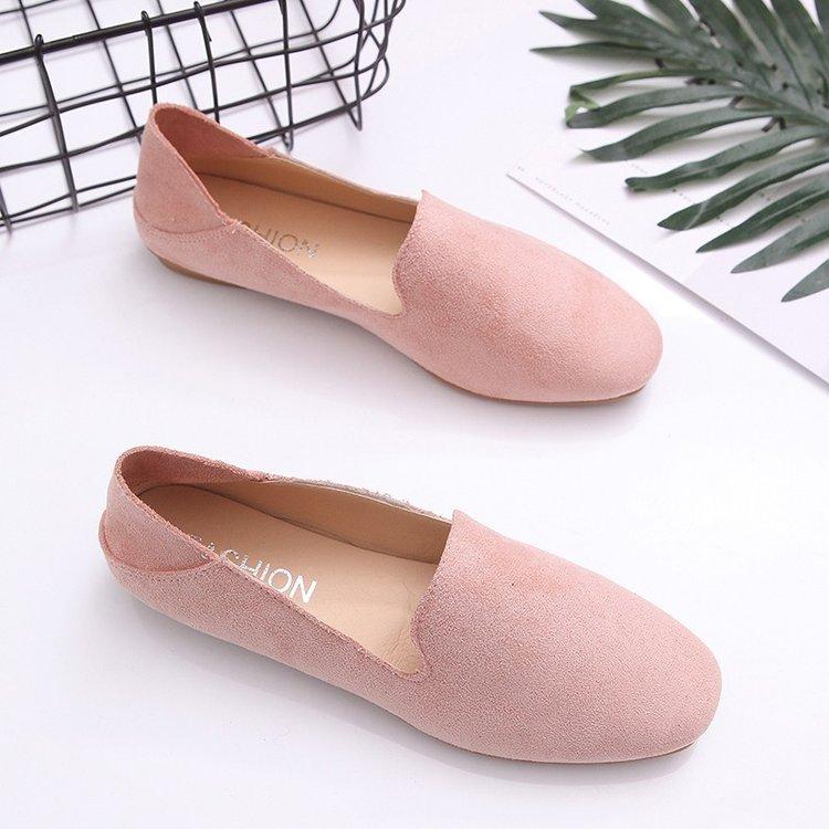 粉红色单鞋 春季粉红色女孩子半拖单鞋平底防滑显瘦学生懒人女鞋套脚孕妇鞋潮_推荐淘宝好看的粉红色单鞋