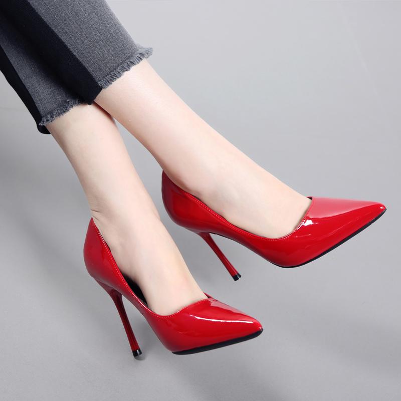漆皮高跟单鞋 2018新款性感尖头细跟高跟鞋浅口红色婚鞋漆皮时尚简约工作女单鞋_推荐淘宝好看的女漆皮高跟单鞋