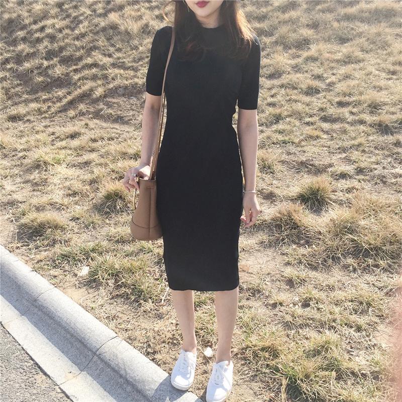绿色连衣裙 春季新款女装欧美风修身圆领短袖连衣裙气质纯色套头螺纹中长裙女_推荐淘宝好看的绿色连衣裙