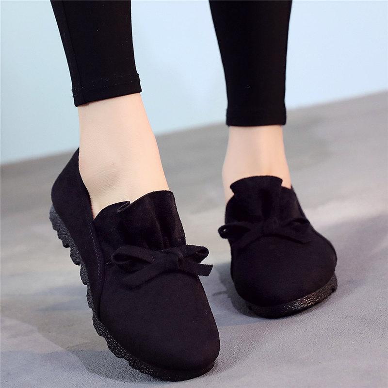 黑色豆豆鞋 新秋季老北京布鞋女鞋单鞋平底黑色工作鞋一脚蹬妈妈大码42豆豆鞋_推荐淘宝好看的黑色豆豆鞋
