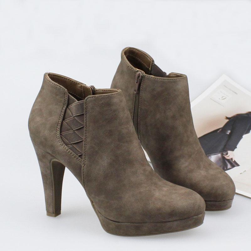 圆头短靴 欧美大码防水台粗跟短靴 绒面圆头侧拉链裸靴性感超高跟女靴_推荐淘宝好看的女圆头短靴