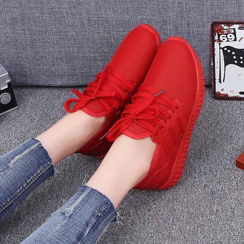 红色运动鞋 新款夏季大红色鞋轻便网面运动鞋女跑步鞋韩版透气休闲健身鞋_推荐淘宝好看的红色运动鞋
