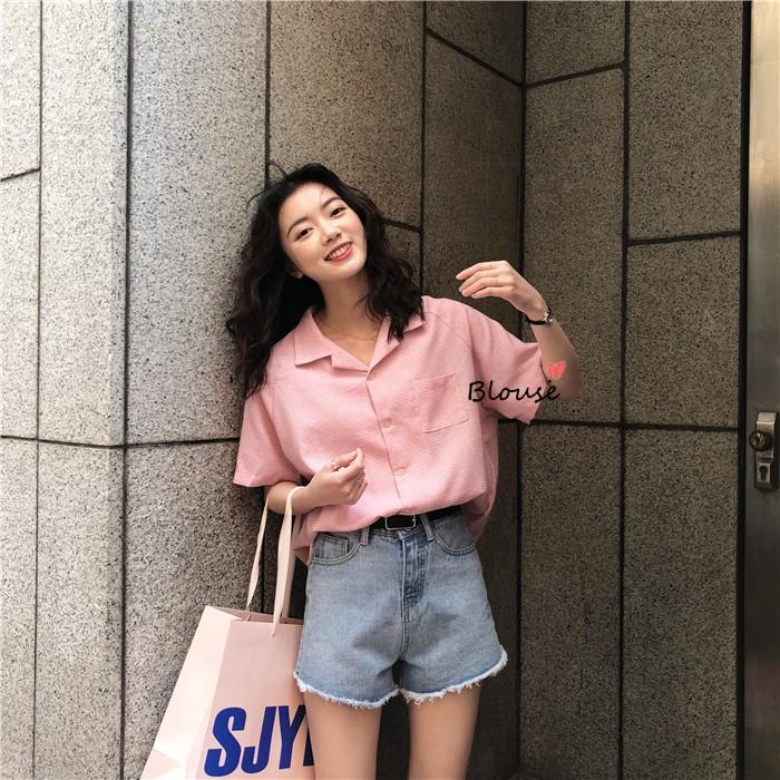 红格子衬衫 减龄粉嫩韩国ins新款 清爽夏日格子显瘦单排扣短袖衬衫女宽松百搭_推荐淘宝好看的女红格子衬衫