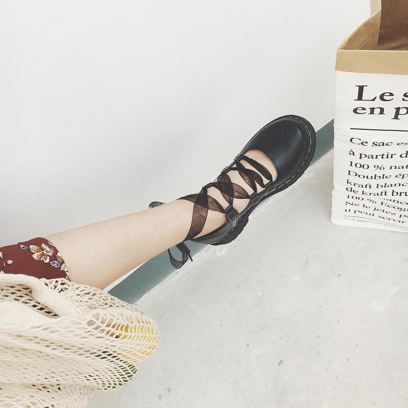 学院风松糕鞋 小皮鞋女复古英伦学院风松糕厚底软妹甜美绑带系带圆头单鞋娃娃鞋_推荐淘宝好看的学院风松糕鞋