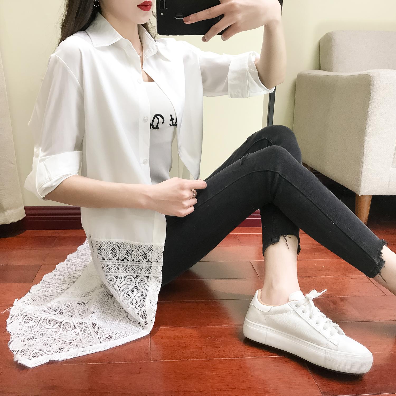 白色衬衫 2018春装新款女衬衫长款长袖白色雪纺裙polo衫女女神范衣服衬衣裙_推荐淘宝好看的白色衬衫