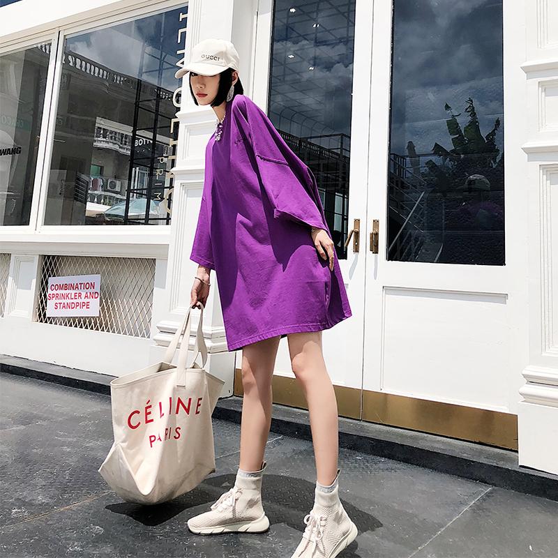 紫色连衣裙 彼岸寻欧洲站2018新款秋季中长款时尚潮流宽松遮肉长袖连衣裙_推荐淘宝好看的紫色连衣裙