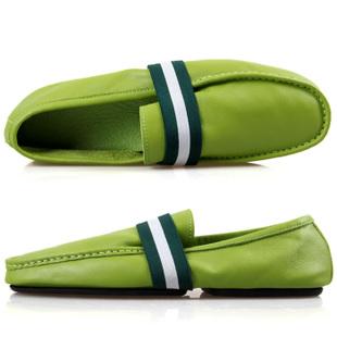 绿色豆豆鞋 韩国时尚流潮真皮男鞋子夏季新款日常休闲鞋英伦风绿色开车豆豆鞋_推荐淘宝好看的绿色豆豆鞋