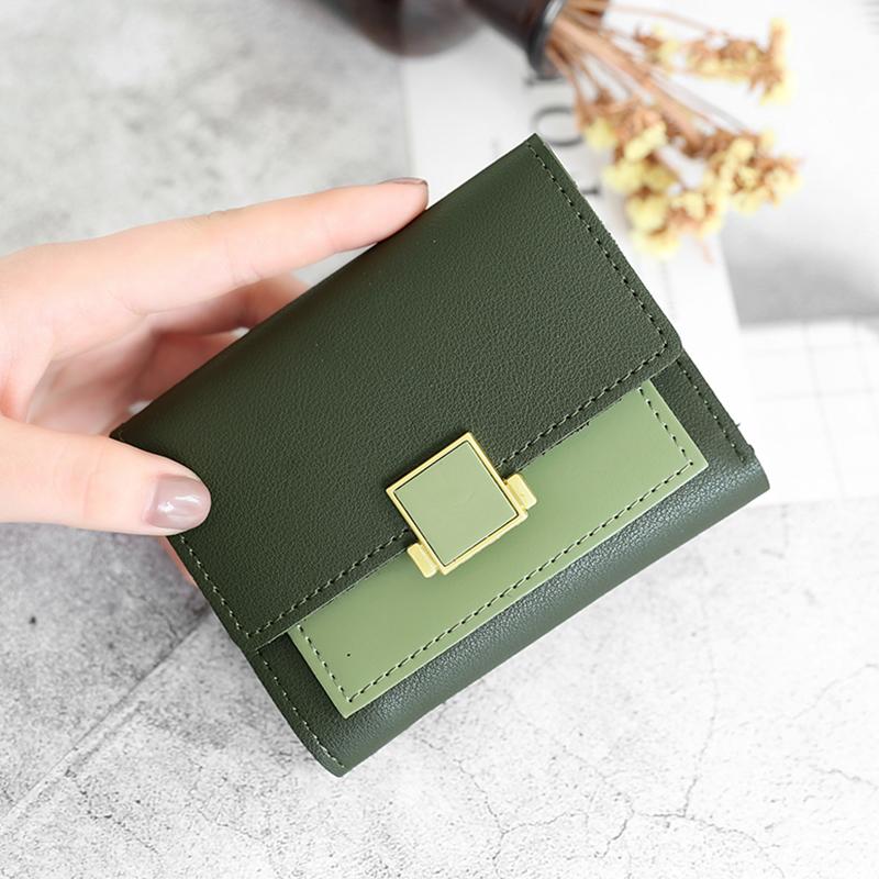 绿色钱包 KISS ME2018ins3折方形金属装饰搭扣双色横款学生钱包女短款_推荐淘宝好看的绿色钱包