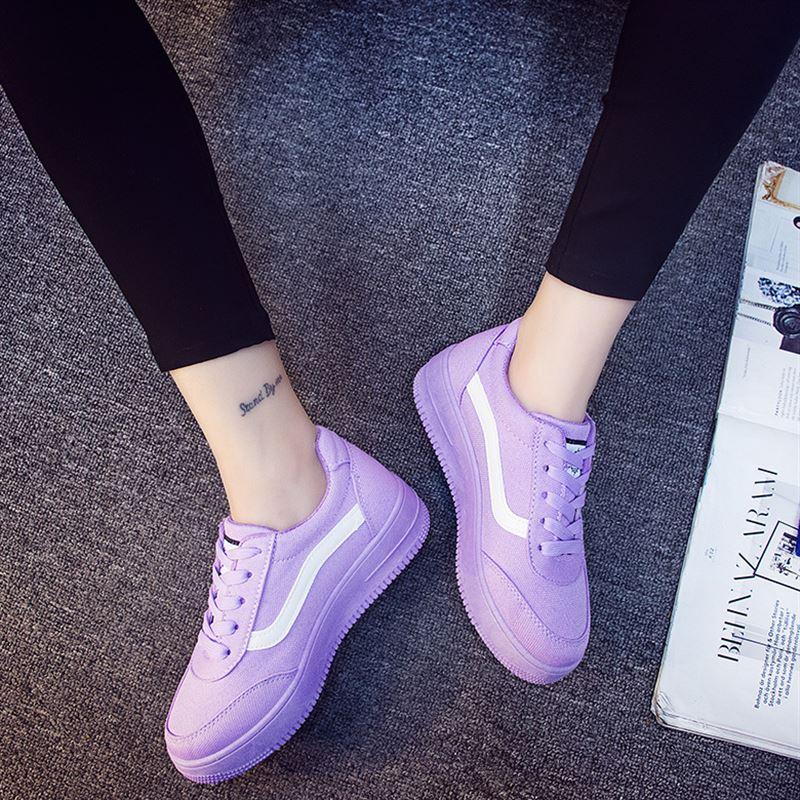 紫色运动鞋 夏天秋小紫鞋厚底帆布鞋女旅游运动鞋女学生休闲鞋板鞋浅紫色平底_推荐淘宝好看的紫色运动鞋