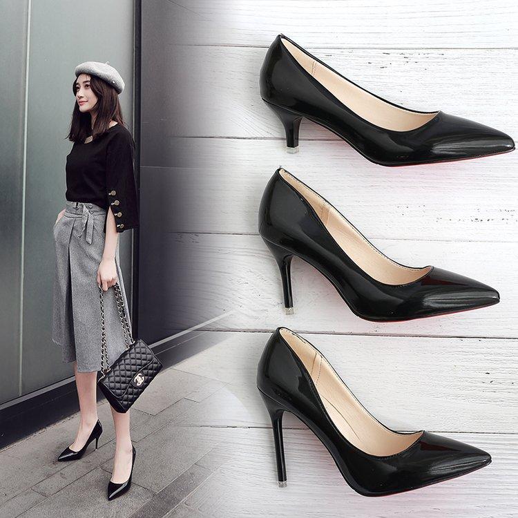 时尚高跟鞋 欧洲站时尚黑色高跟鞋2018新款细跟粉色尖头浅口鞋职业女鞋单鞋子_推荐淘宝好看的女时尚高跟鞋