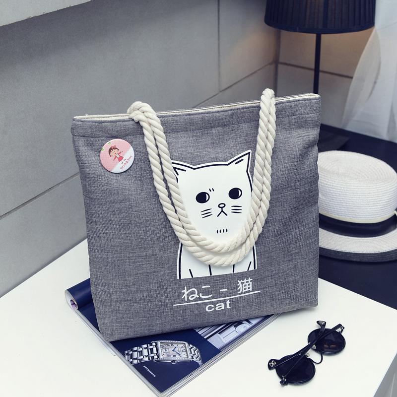 白色手提包 帆布包布袋女文艺韩版学生大容量简约森系韩国chic麻绳手提单肩包_推荐淘宝好看的白色手提包