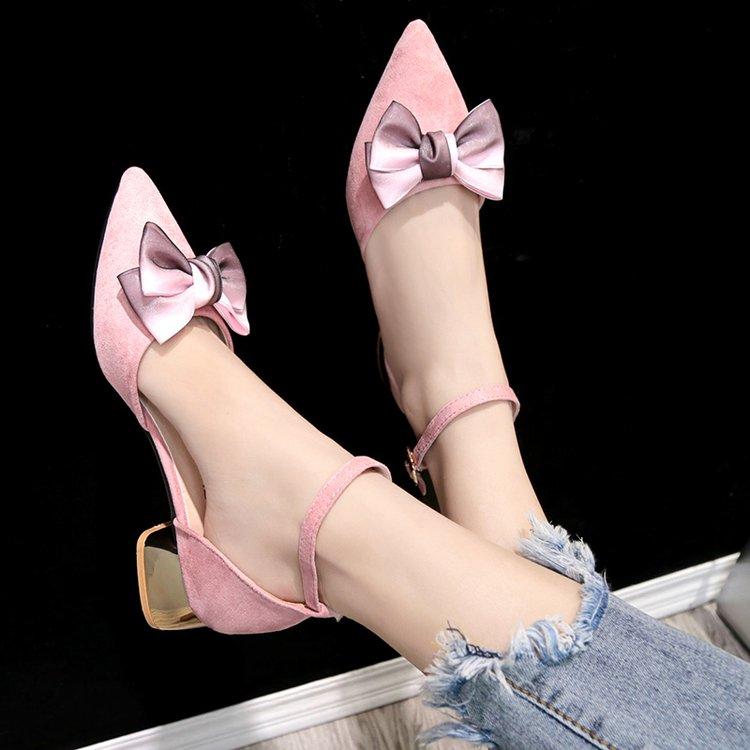 罗马高跟鞋 鞋子女2018新款凉鞋女夏外穿粗跟蝴蝶结女鞋一字扣带罗马鞋高跟鞋_推荐淘宝好看的女罗马高跟鞋