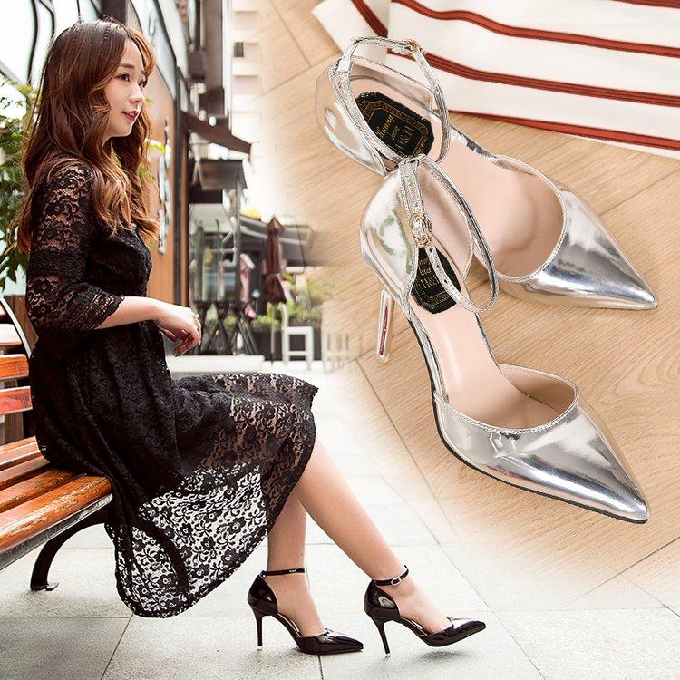 高跟鞋 新款韩版银色性感尖头浅口高跟鞋夏一字扣带细跟凉鞋镂空单鞋女鞋_推荐淘宝好看的女高跟鞋