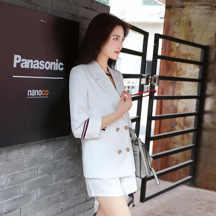 白色小西装 正装职业套装女韩国大学生2018春季新款时尚小西装短裤面试两件套_推荐淘宝好看的白色小西装