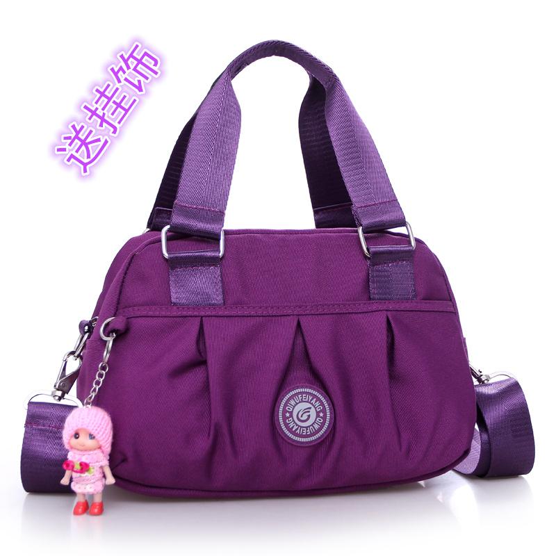 紫色手提包 新款潮尼龙牛津帆布包布包女包手提包休闲单肩斜跨女士包包斜挎包_推荐淘宝好看的紫色手提包