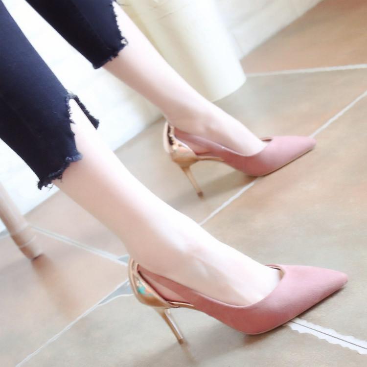 性感高跟鞋 2018早春新款细跟高跟鞋欧美性感镂空女鞋子尖头时尚浅口鞋单鞋女_推荐淘宝好看的女性感高跟鞋
