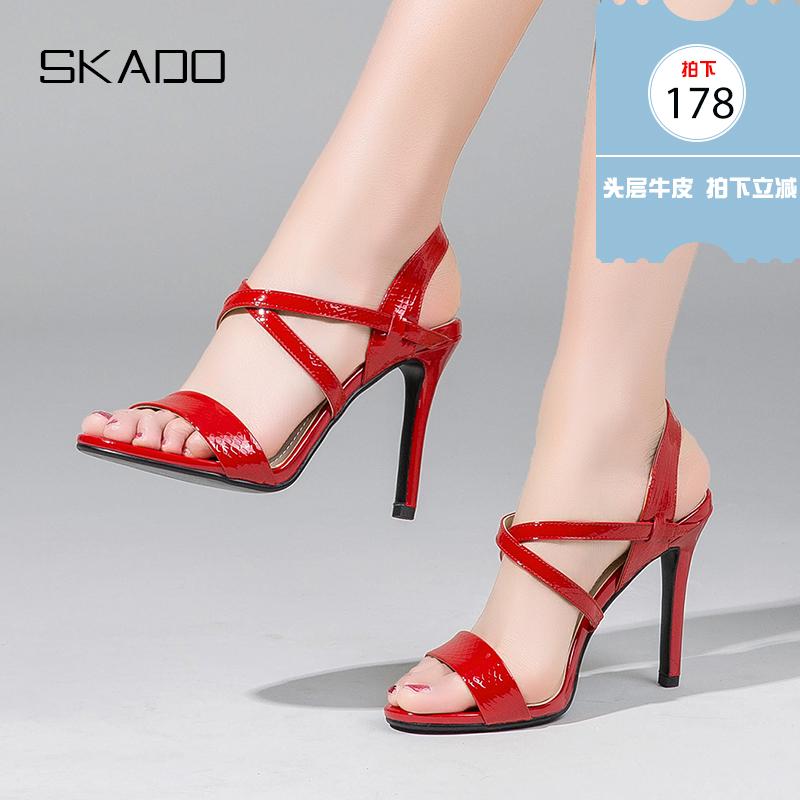 红色罗马鞋 罗马凉鞋女交叉绑带波西米亚风真皮女鞋红色高跟鞋细跟性感百搭_推荐淘宝好看的红色罗马鞋
