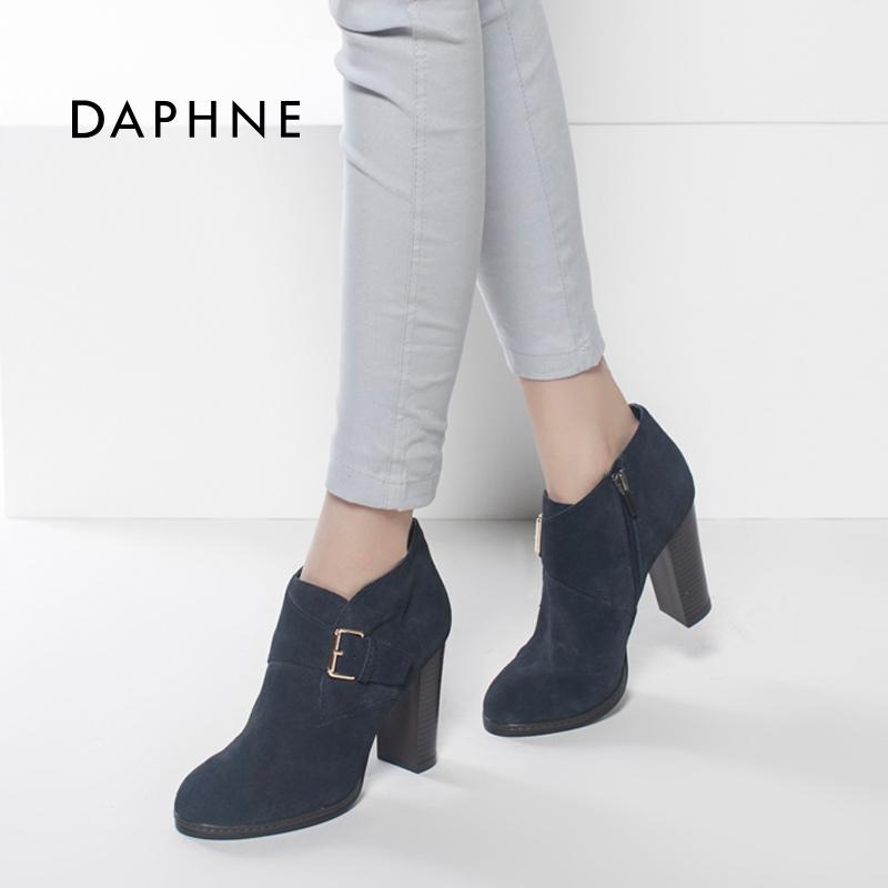 短靴 Daphne达芙妮舒适时尚圆头粗高跟潮女靴短靴大码1015605043_推荐淘宝好看的女短靴