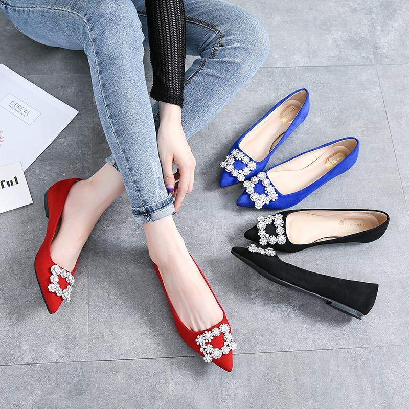 红色平底鞋 婚鞋女2017新款水钻尖头单鞋结婚鞋子新娘鞋孕妇平底鞋大红色女鞋_推荐淘宝好看的红色平底鞋