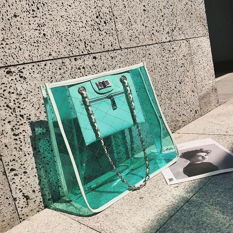 绿色链条包 链条包女2018夏新款欧美时尚个性PVC塑料包透明果冻包沙滩旅行包_推荐淘宝好看的绿色链条包