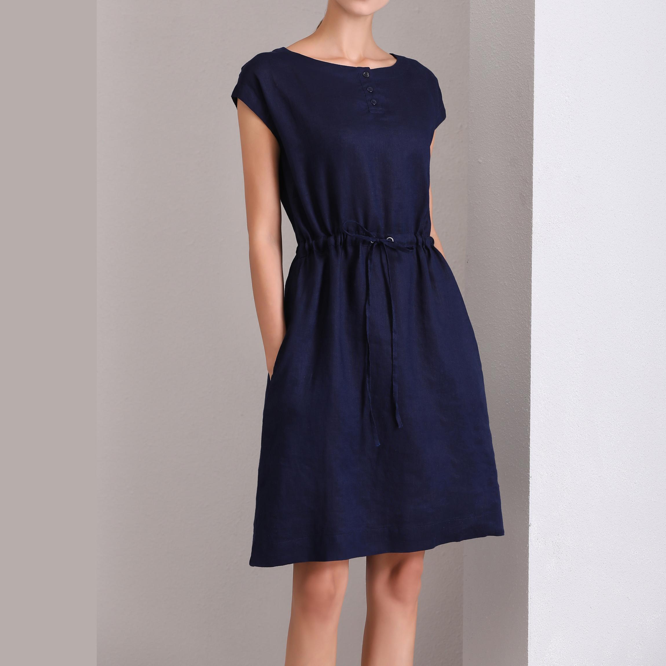 连衣裙 艾琳家100%纯亚麻连衣裙一分袖A字型宽松简约百搭_推荐淘宝好看的连衣裙