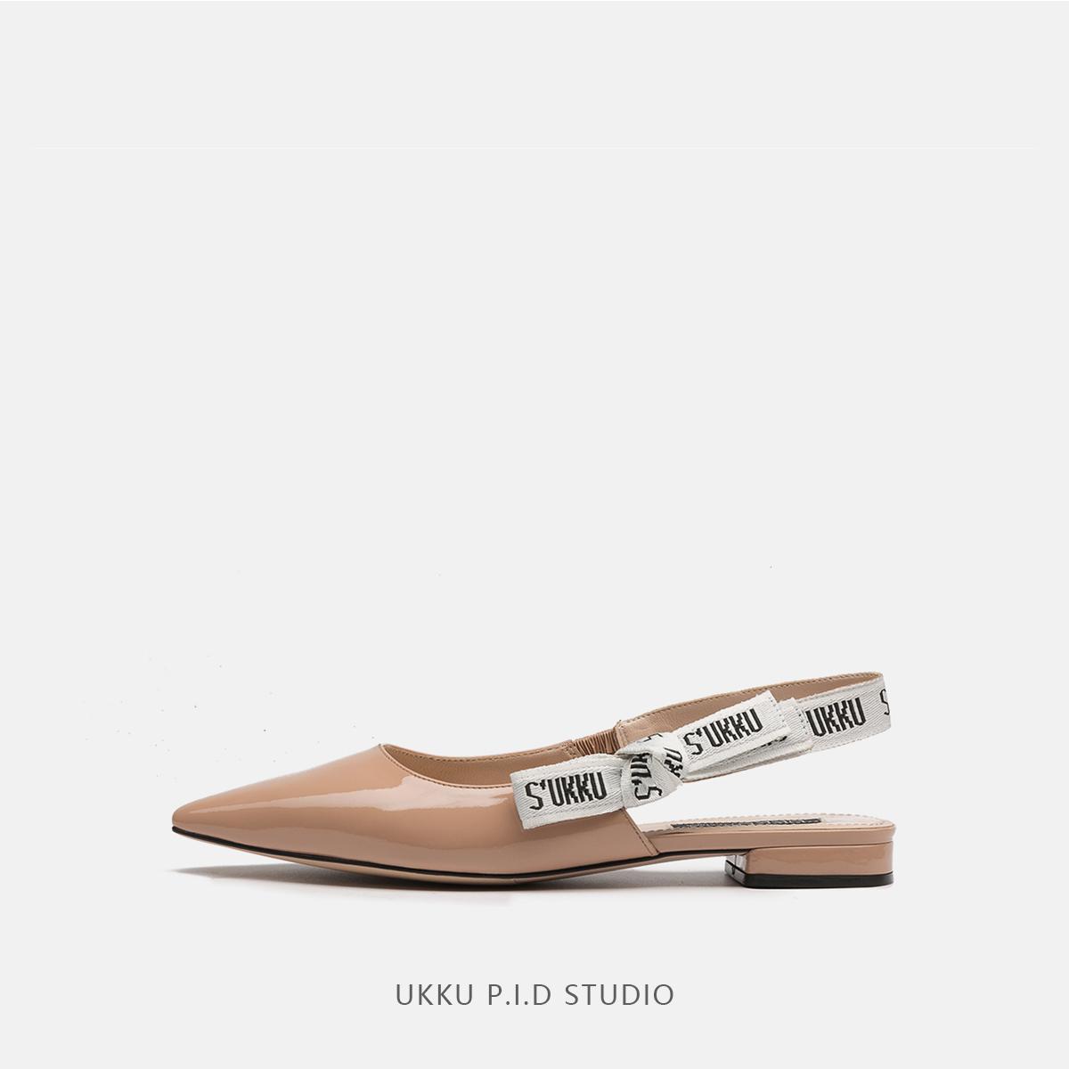 皮凉鞋 UKKU 2018夏季新款浅口百搭款舒适尖头漆皮平底平跟女凉鞋补货_推荐淘宝好看的女皮凉鞋