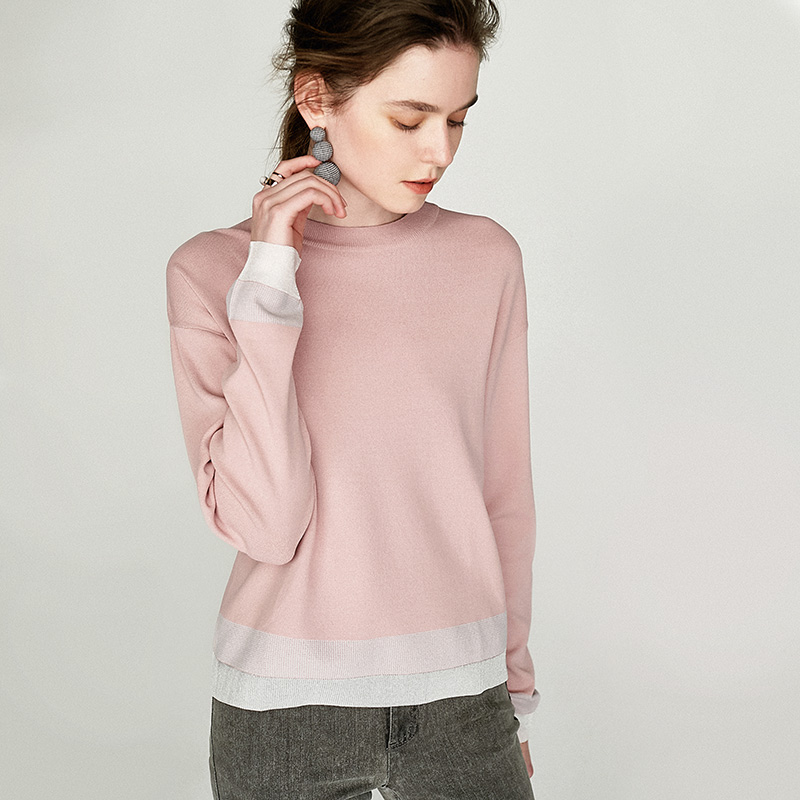 粉红色针织衫 Dimple Hsu 灰度粉 高级又温柔 16针针织衫 W21494 现货_推荐淘宝好看的粉红色针织衫